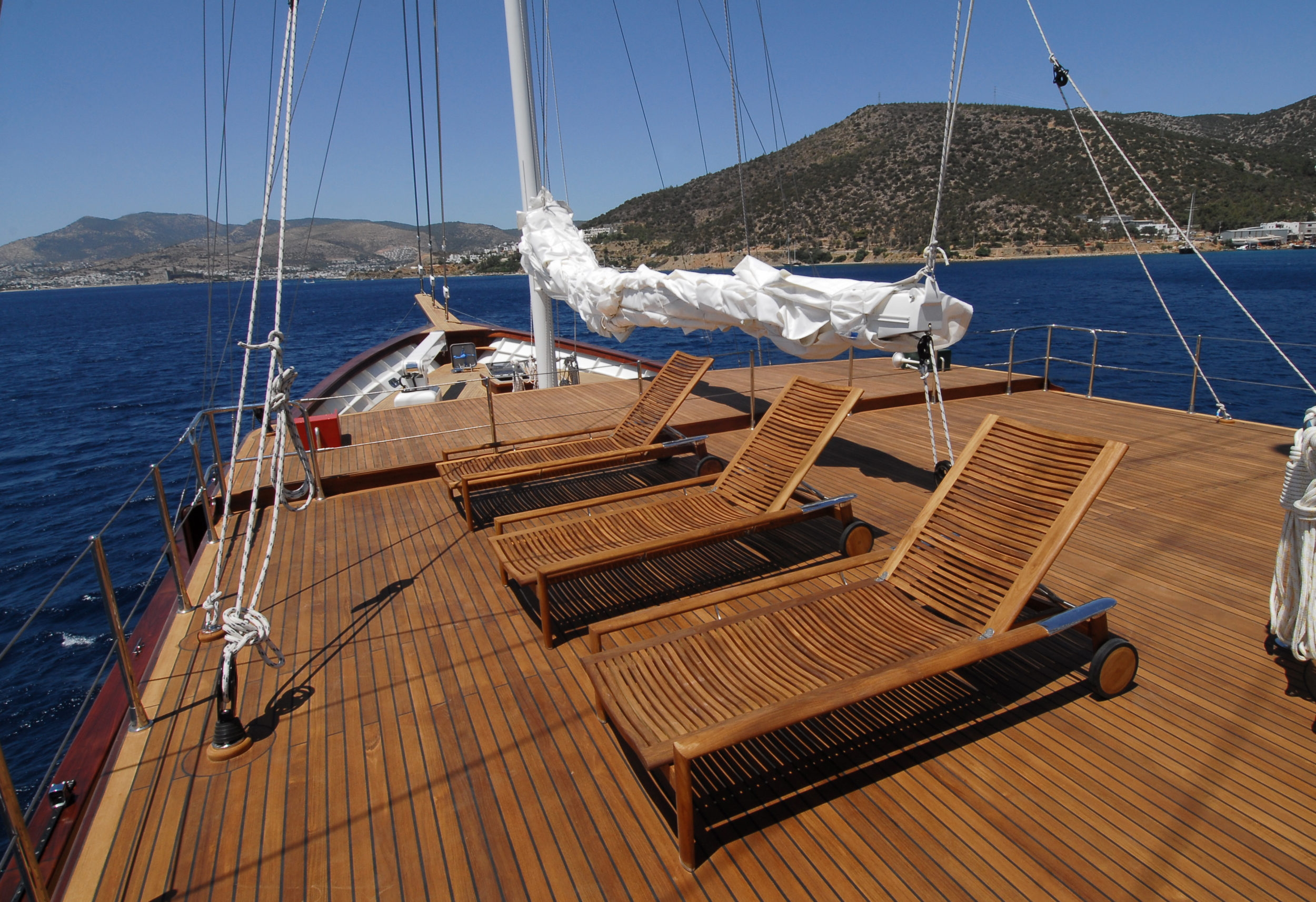 luxury yacht with teak deck